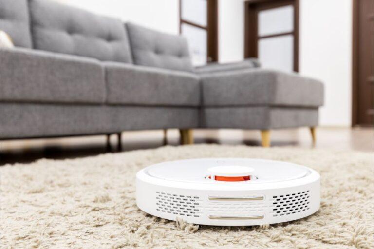 Robot vacuum cleaner on carpet